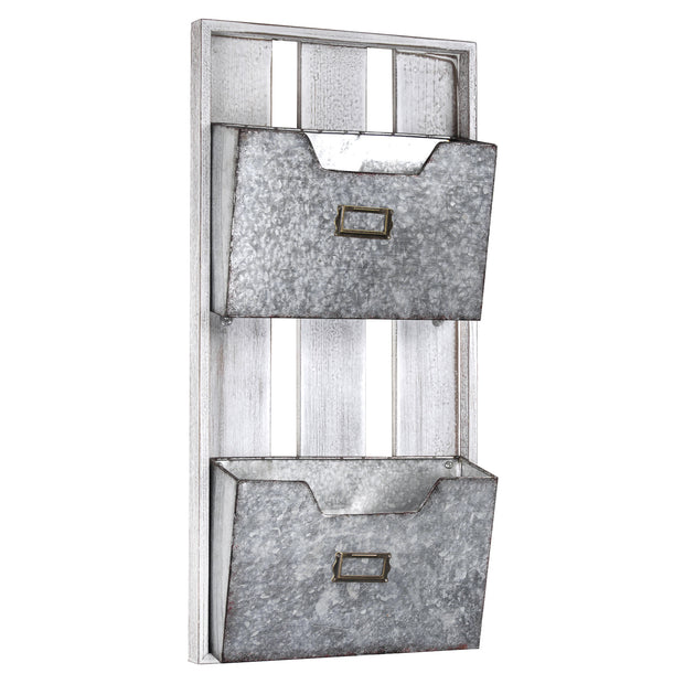 2 Pocket Galvanized Metal Mail Magazine & Wall Organizer