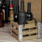 Whitewashed Wood 4 Bottle Tabletop Wine Rack