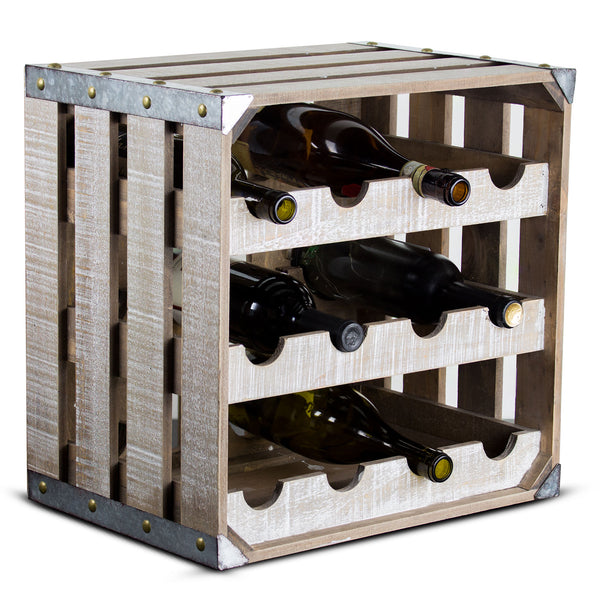 Rustic 12 Bottle Wine Rack Wooden Crate