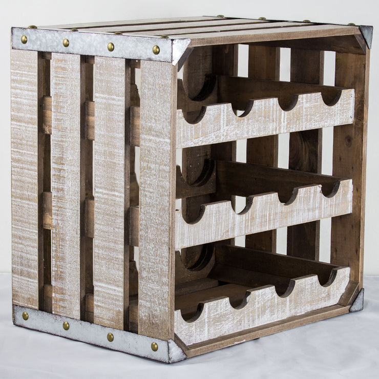 Rustic White Wood 12 Bottle Wine Rack