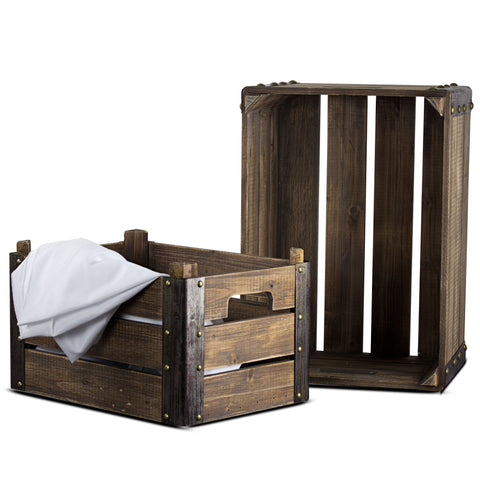 Rustic Farmhouse 2 Wooden Storage Crates