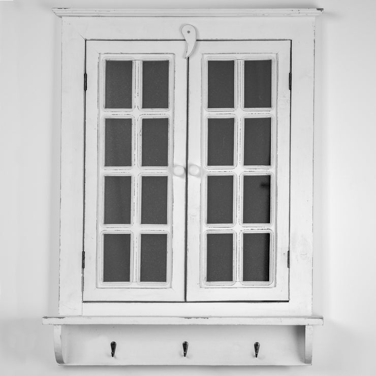 Window Shutter Wall Mirror with 3 Hooks