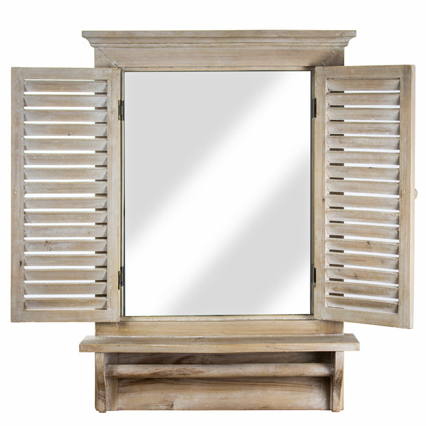 Window Shutter Wall Mirror with Towel Rod