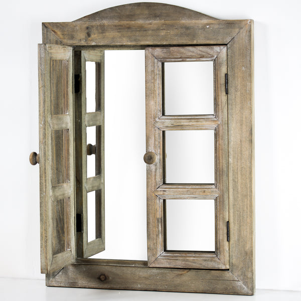 Country Rustic Window Shutter Wall Mirror