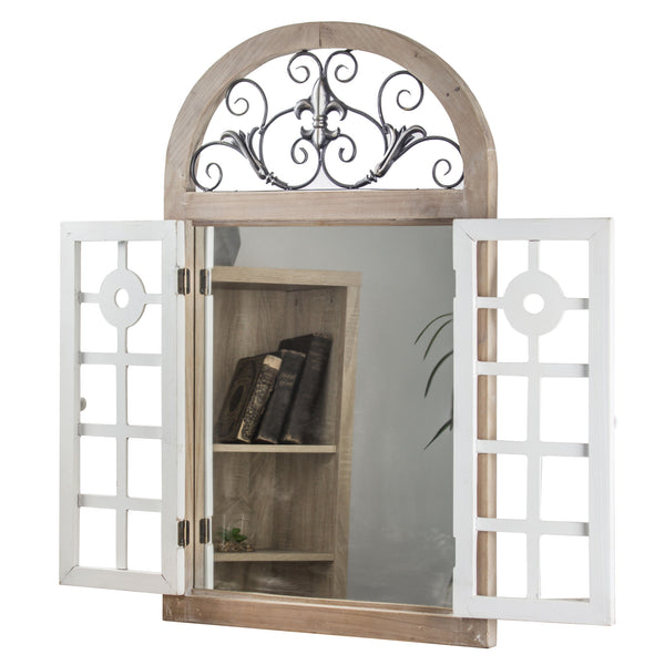Rustic Cathedral Arch Window Shutter Wall Vanity Mirror