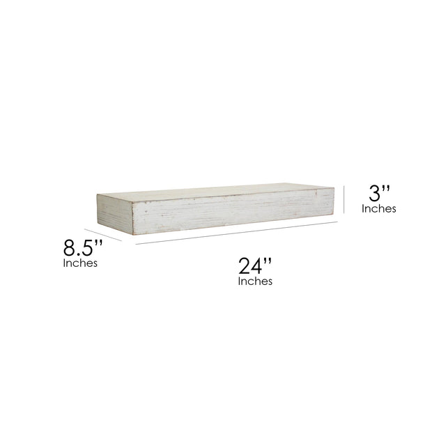 Whitewashed Wood Floating Wall Shelf - Small