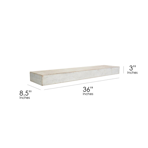 Whitewashed Wood Floating Wall Shelf - Large
