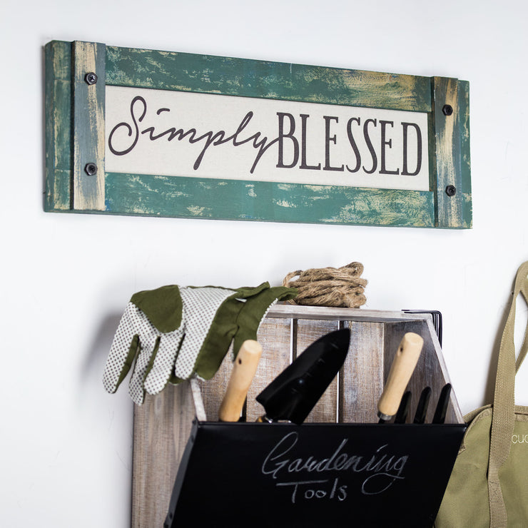 Simply Blessed Inspirational Farmhouse Sign