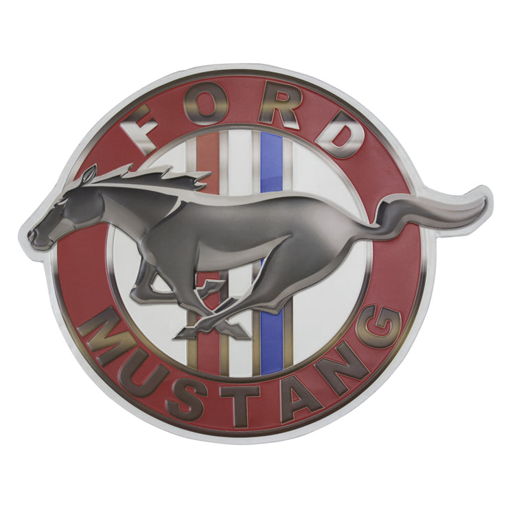 Vintage Ford Mustang Logo Embossed Metal Sign