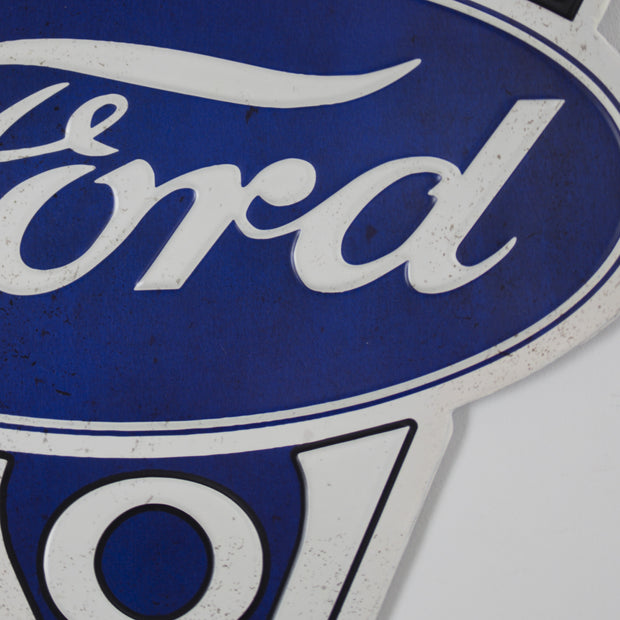 Vintage Ford V8 Genuine Parts Embossed Metal Sign