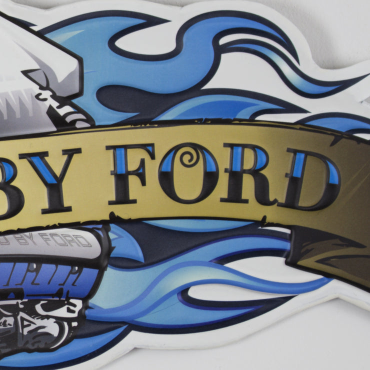 Powered by Ford Embossed Metal Sign