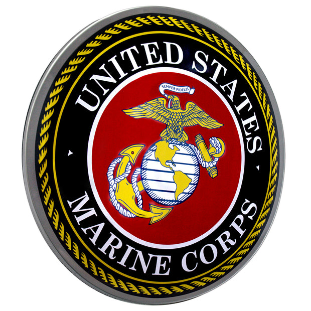 "United States Marine Corps Emblem Dome Metal Sign (15"")"