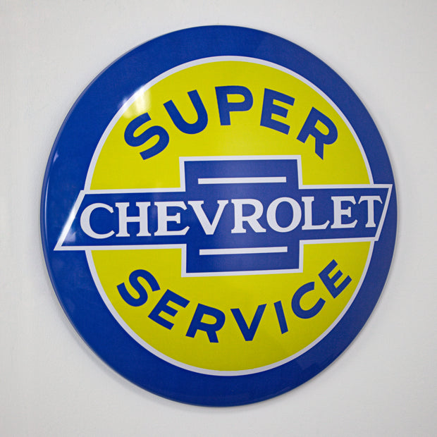 "Licensed Chevrolet Super Service 15"" Dome Metal Sign"