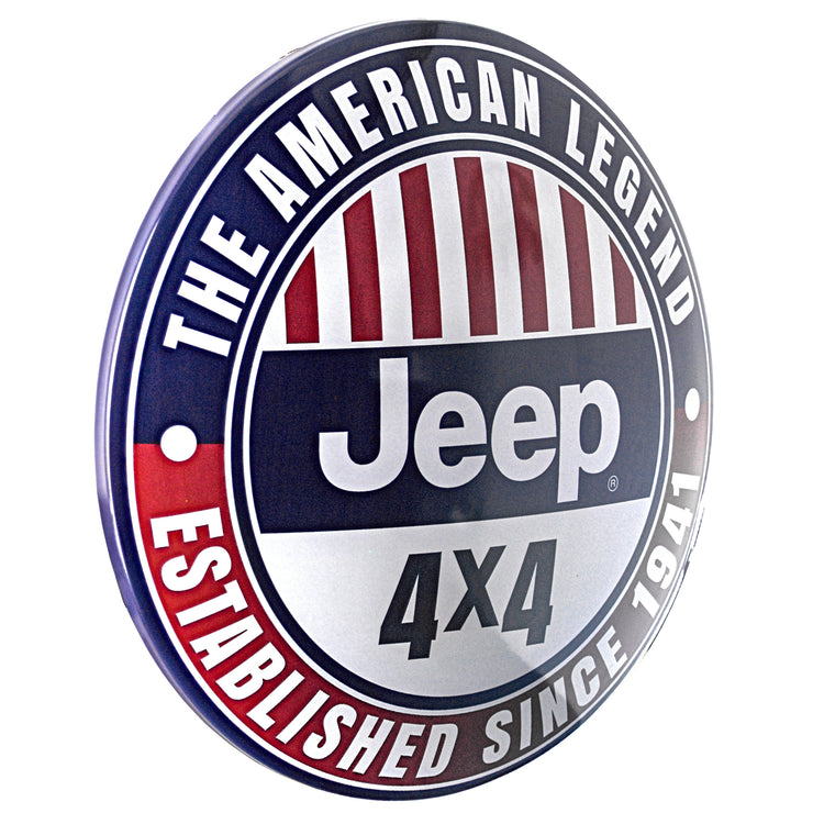 "Licensed Jeep 4 X 4 Dome Metal Sign (15"")"