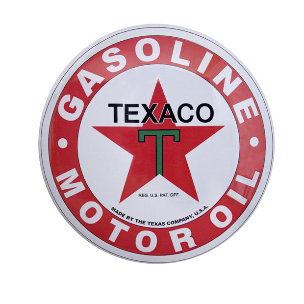 Licensed Texaco Gasoline Motor Oil Dome Metal Sign