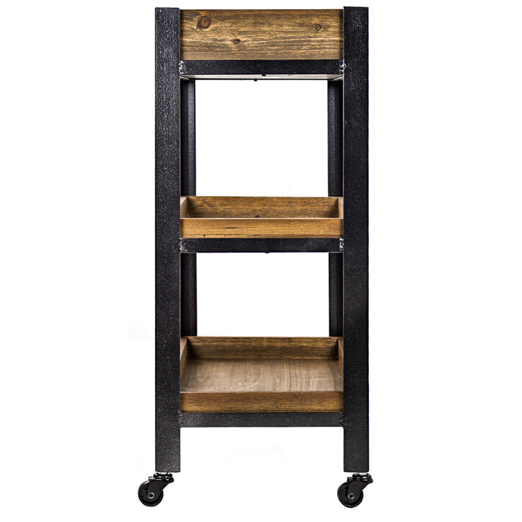 Rustic Wood and Metal 3-Shelf Rolling Cart