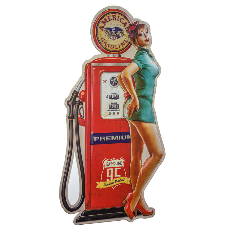 American Gas Pin Up Girl Embossed Metal Sign