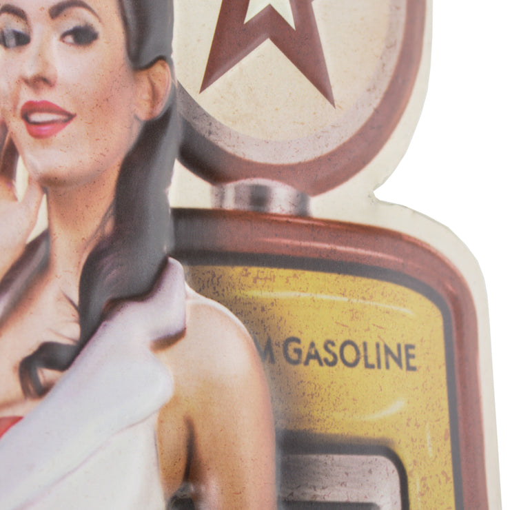 Gas n Go Pinup Embossed Metal Sign