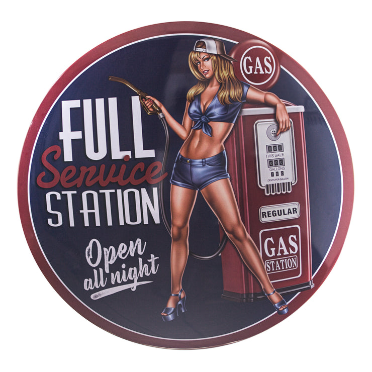 "Gas Station Pinup Girl 15"" Dome Metal Sign"