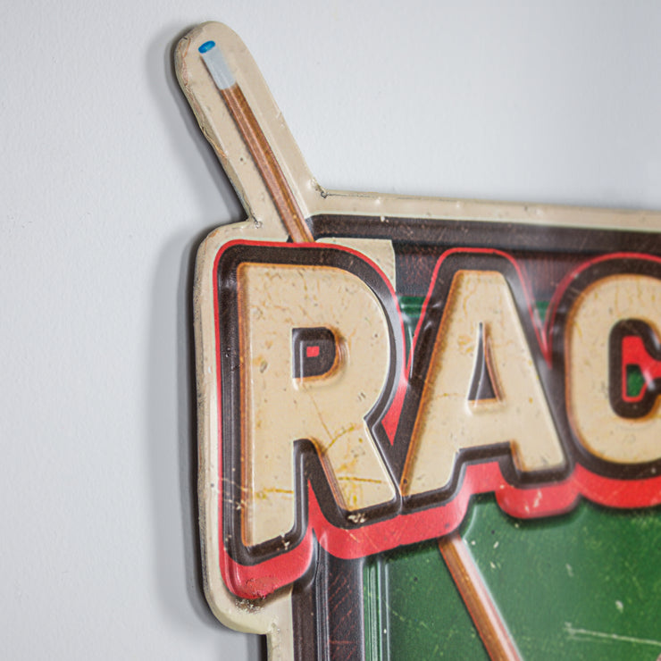 Rack it Crack it Pool Table Sticks Embossed Metal Sign