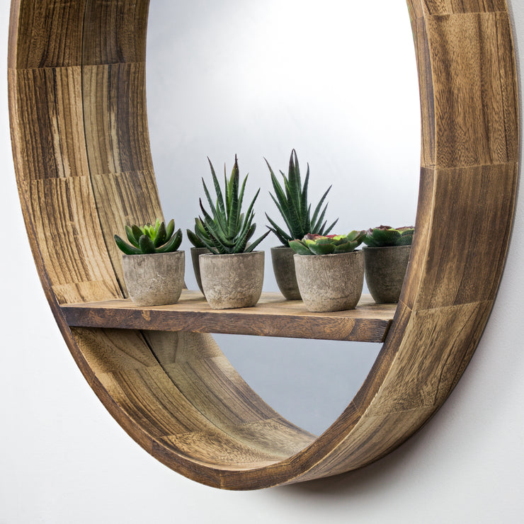 "Round Wooden Wall Mirror with Storage Shelf - Brown (28"")"