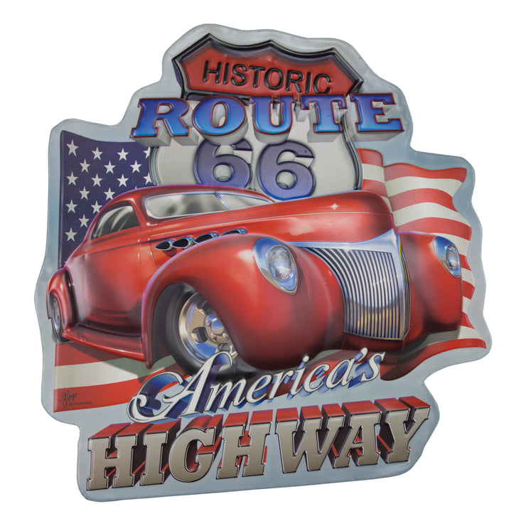 Historic Route 66 America's Highway Embossed Metal Sign