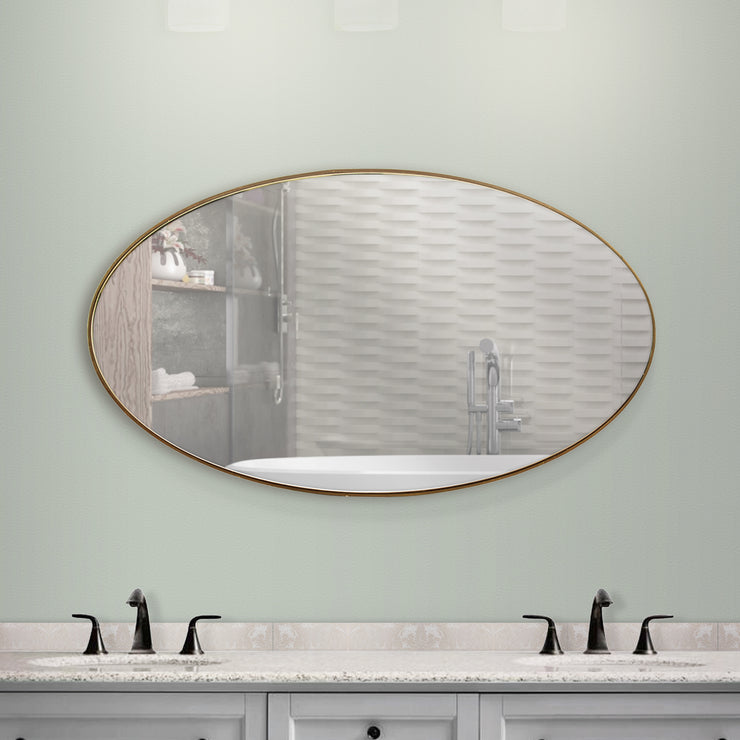 Oval Wall Vanity Infinity Mirror - Gold