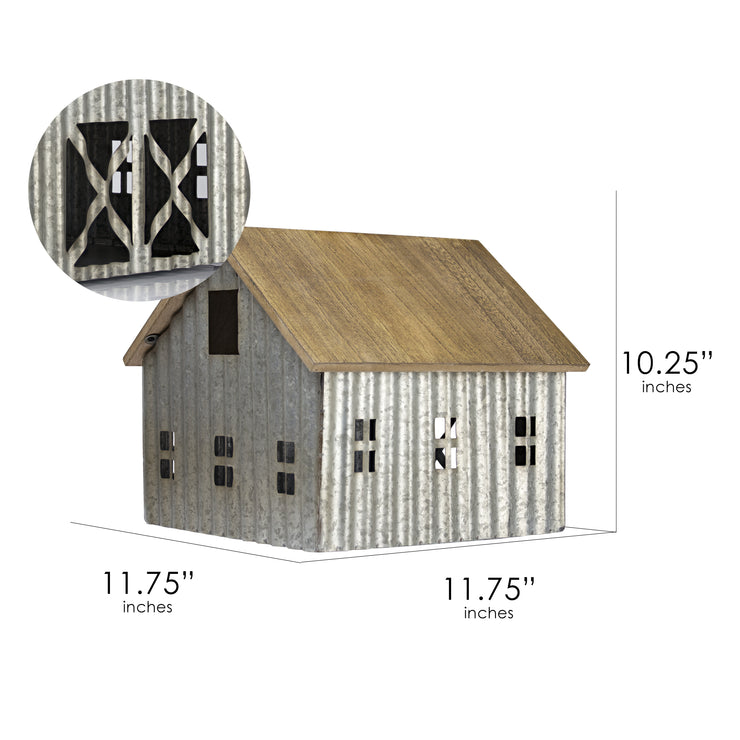 Wood and Metal Barn Bird House Tabletop Decor