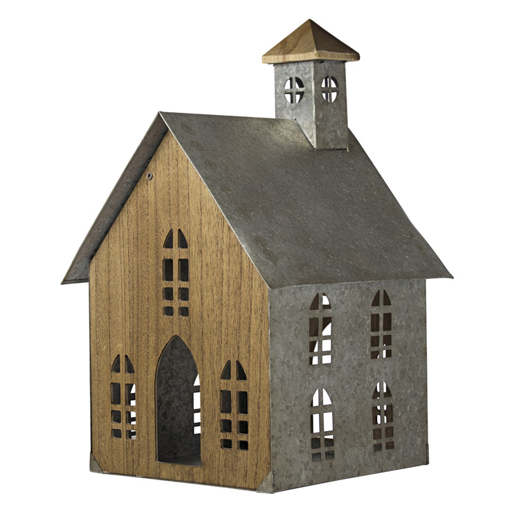 Wood Metal Church Bird House Tabletop Decor