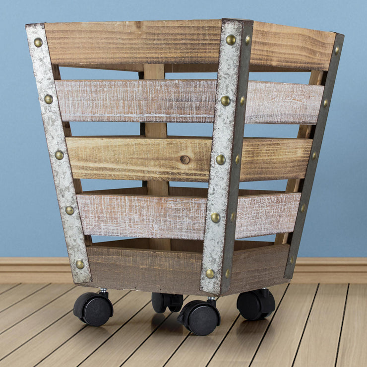 Wood & Metal Storage Crate with Wheels - Large