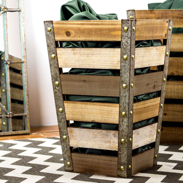 Wood & Metal Storage Crate - Medium