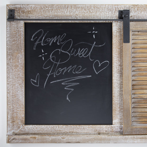 Rustic Wood Sliding Barn Door Chalkboard