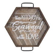 Kitchen is Seasoned with Love Wood Metal Sign