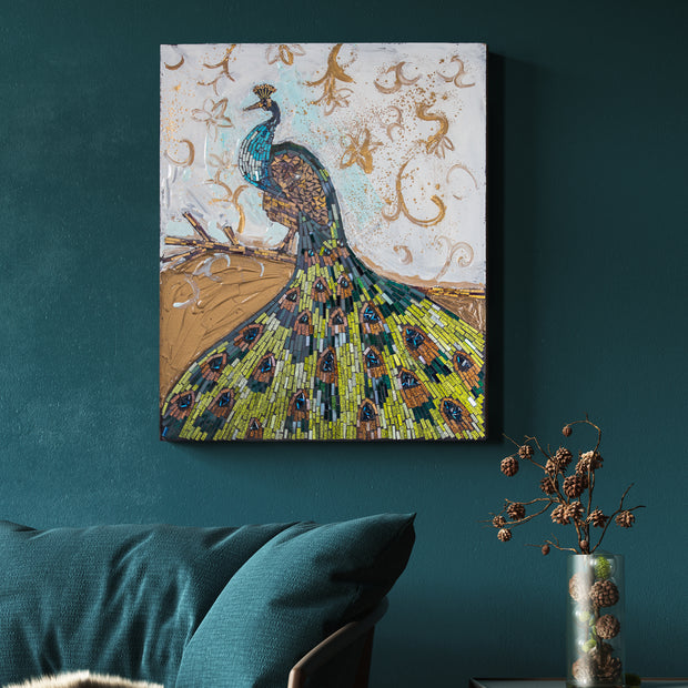 Peacock Crushed Glass Mosaic Wall Art Decor