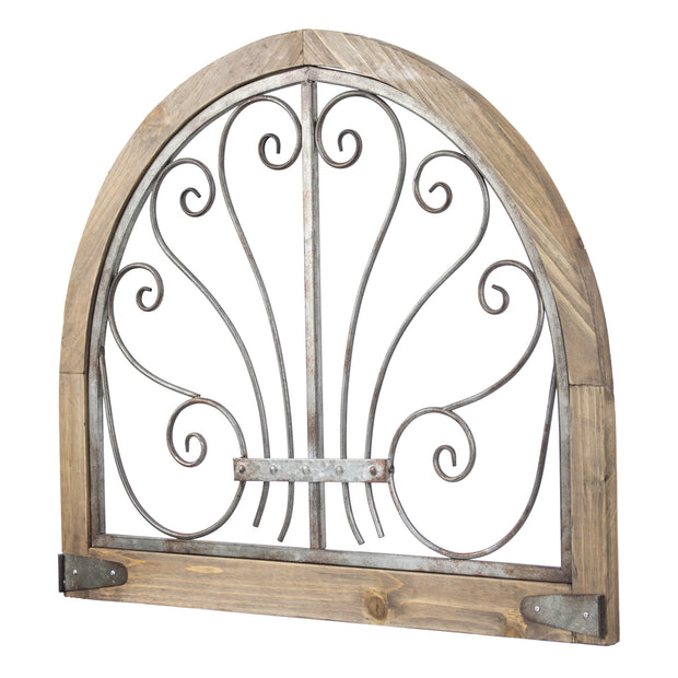 Rustic Wood Metal Arched Wall Decor