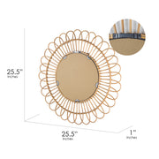 Woven Rattan Sunburst Accent Wall Mirror 25""