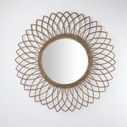 Woven Rattan Sunburst Accent Wall Mirror 24""