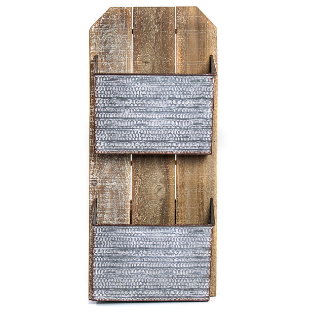 2 Pocket Galvanized Metal Wood Mail, Magazine & Wall Organizer