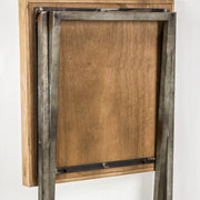 Wood Metal Folding Side Accent Table