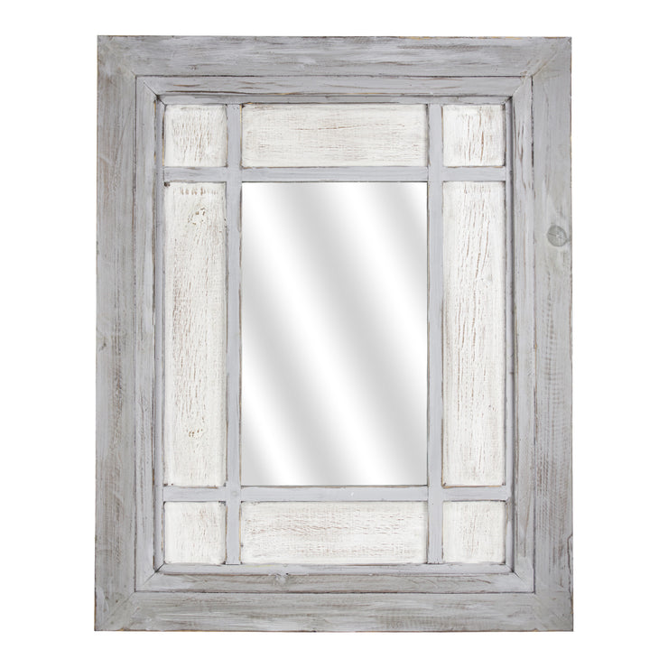 Rustic Wood Window Wall Mirror