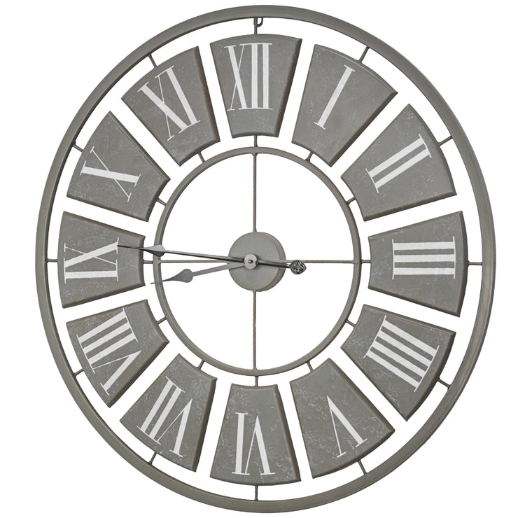 "Oversized Vintage Metal Wall Clock 31"" (Gray)"