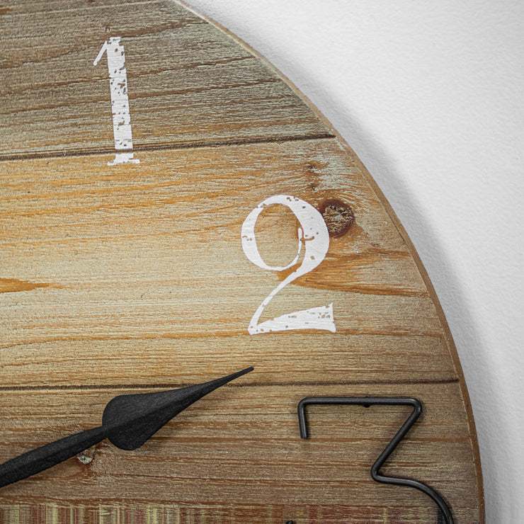 Oversized Wood & Metal Farmhouse Wall Clock 23""