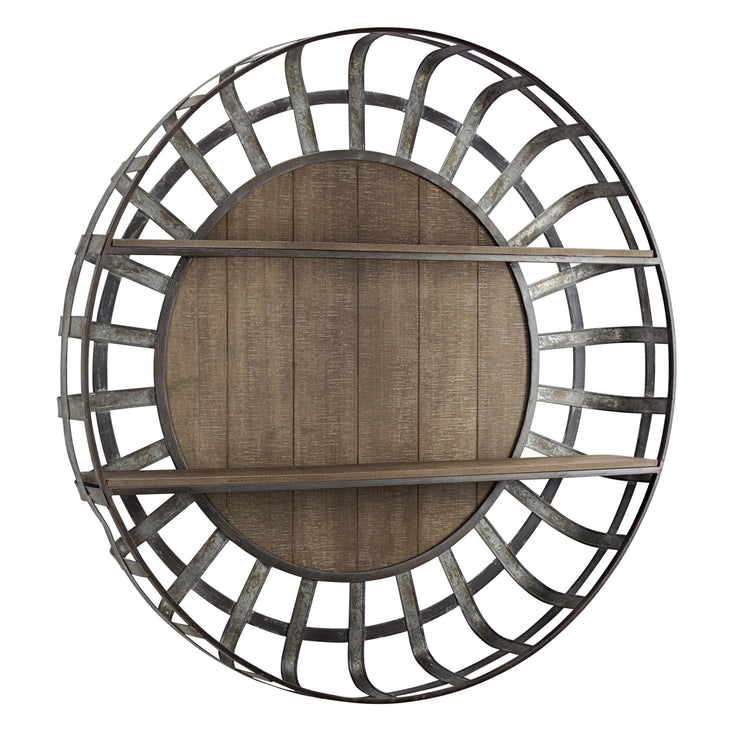 Rustic Round Wall Shelf Organizer