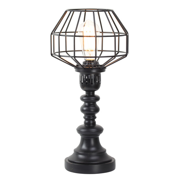 "Industrial Black Metal Wire Caged 18"" Table Lamp"