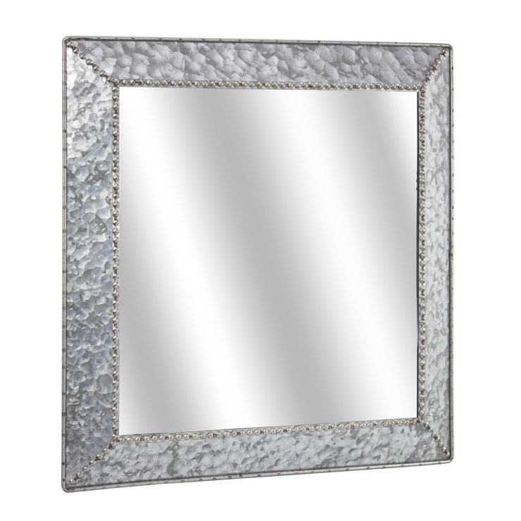 "Galvanized Metal 22"" Square Wall Vanity Mirror"