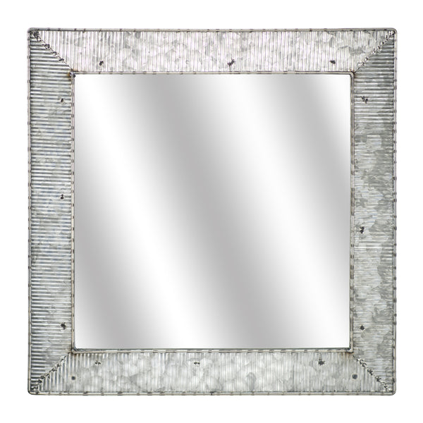 "Galvanized Metal Square Mirror (22"")"