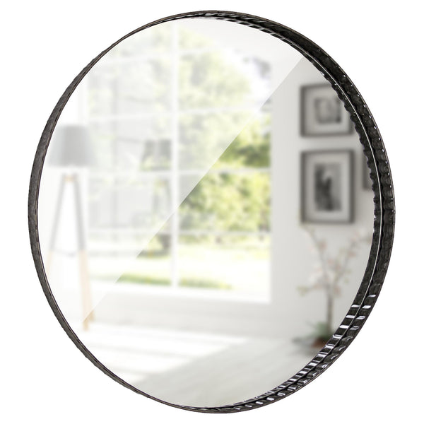 "Galvanized Metal Round Mirror (21"")"