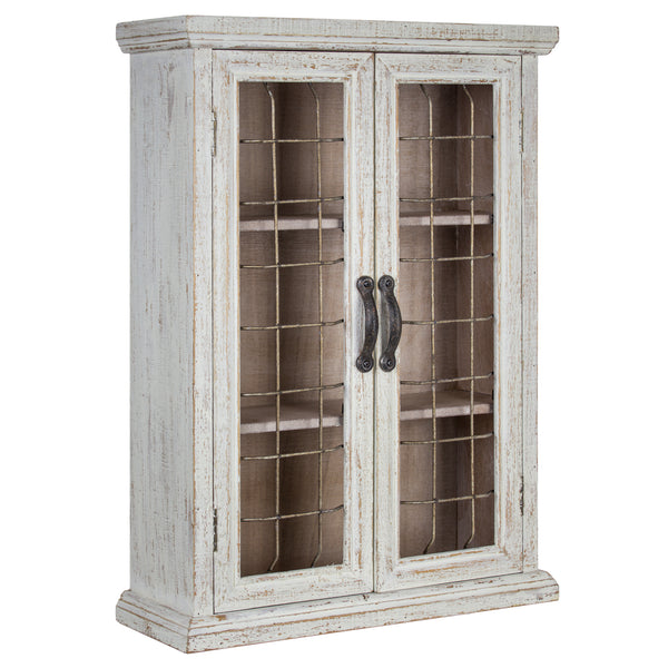 Whitewashed Rustic Hanging Storage Cabinet