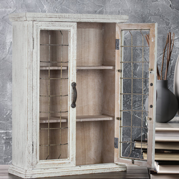 Whitewashed Rustic Storage Cabinet