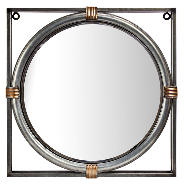 "Antiqued Metal Framed Wall Mirror (21"")"